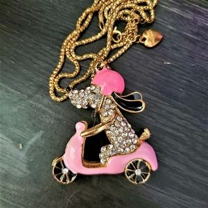 BETSEY JOHNSON PUP ON A SCOOTER NECKLACE